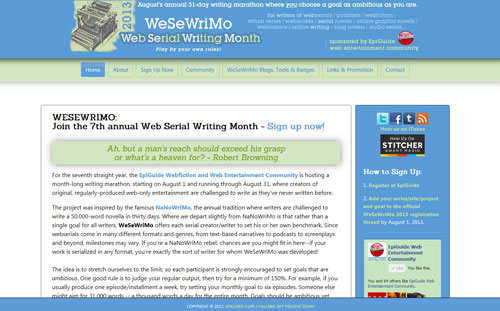Web Serial Writing Month 2013